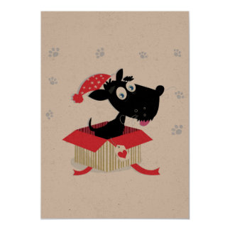 Happy new year greeting with Black dog Card