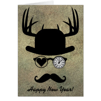 Happy New Year Greetings Moustache London Card
