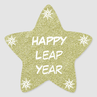 Happy New Year, Happy Leap Year Gold Glitter Star Star Sticker