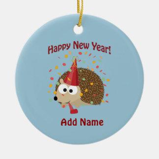 Happy New Year Hedgehog! Round Ceramic Decoration