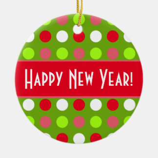 Happy New Year Holiday Dots Mix Ornament