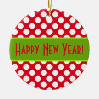 Happy New Year Holiday Dots Red Ornament