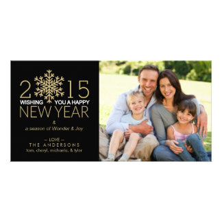 Happy New Year Holiday Snowflake Family Photo Personalized Photo Card