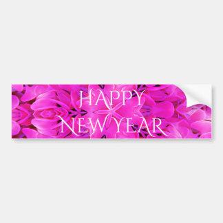 Happy New Year Hot Pink Kaleidoscope Design Floral Bumper Sticker