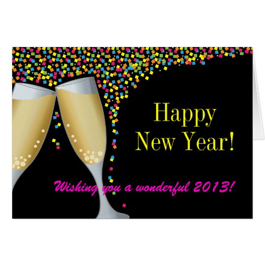 Happy New Year I Champagne Glasses Greeting Card