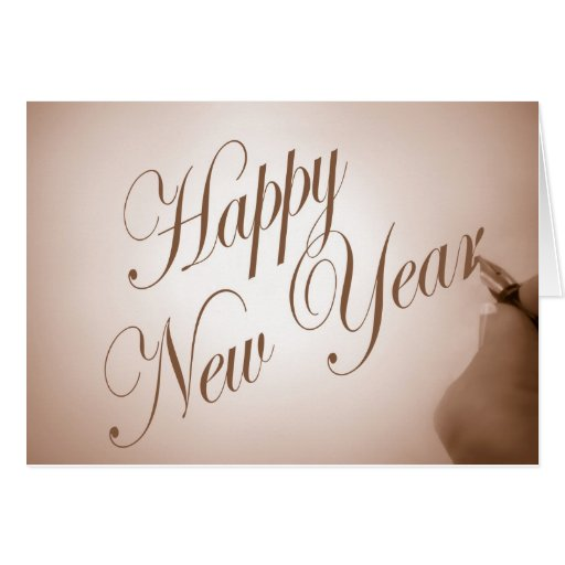 Happy new year in calligraphy greeting card zazzle