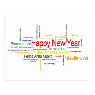 Happy New Year in different languages Postcard