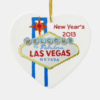 Happy New Year in Las Vegas Double-Sided Heart Ceramic Christmas Ornament