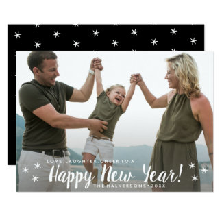 Happy New Year Love Laughter Cheer Custom Photo Card