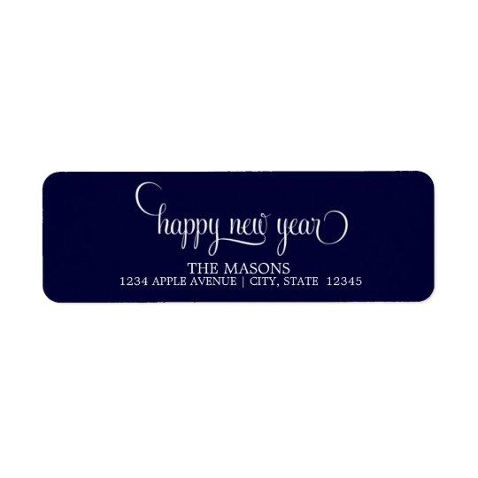Happy New Year Lowercase Script | Dark Blue Return Address Label
