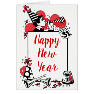 Happy New Year Man Blowing Horn Balloons Card