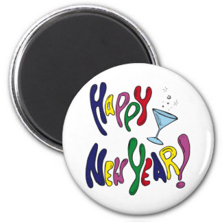 Happy New Year Martini Glass 6 Cm Round Magnet