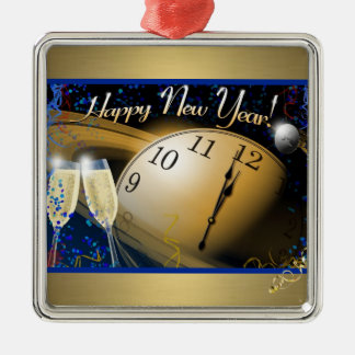 Happy New Year Metal Ornament