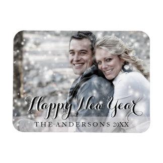 HAPPY NEW YEAR Modern Custom Photo Rectangular Photo Magnet