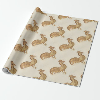 Happy New Year  of The Rooster 2017 Vintage Gold Wrapping Paper