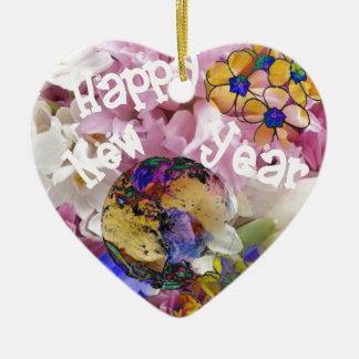 Happy New year on Earth. Ceramic Heart Decoration
