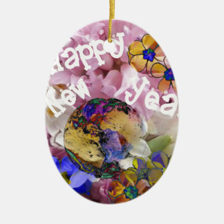 Happy New year on Earth. Ceramic Oval Decoration