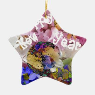 Happy New year on Earth. Ceramic Star Decoration