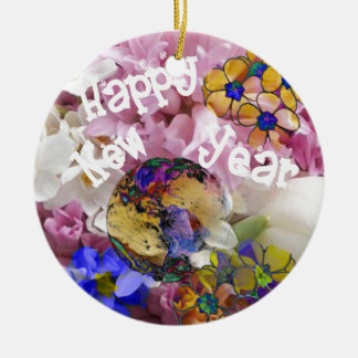 Happy New year on Earth. Round Ceramic Decoration