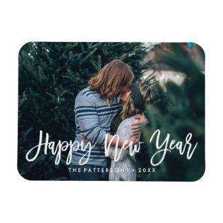 Happy New Year Overlay | Holiday Photo Rectangular Photo Magnet