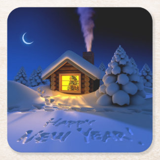 Happy New Year Paper Coaster Square Paper Coaster