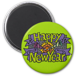 Happy New Year Parties 6 Cm Round Magnet