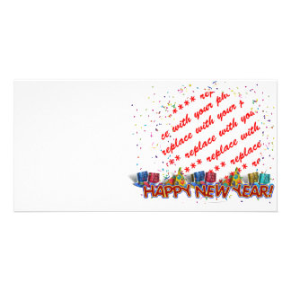 Happy New Year Party Hats Photo Frame Personalized Photo Card