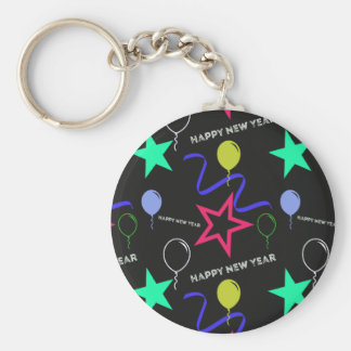 Happy New Year Pattern Basic Round Button Key Ring