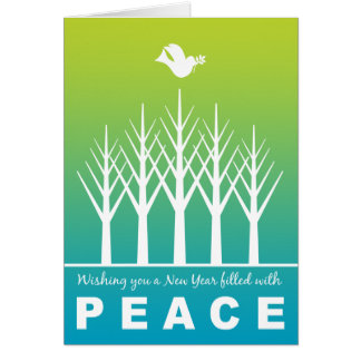 Happy New Year Peace Dove Winter Trees Green Blue Card