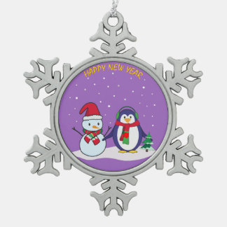 Happy New Year penguin, snowman Pewter Snowflake Decoration