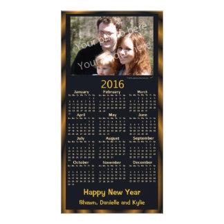 Happy New Year Photo 2016 Calendar Card Black Custom Photo Card