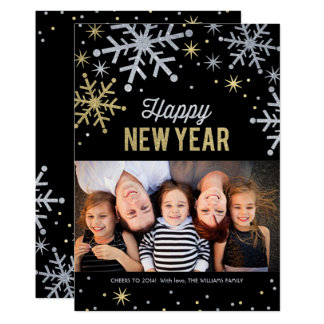 Happy New Year Photo Cards | Silver Gold Sparkle