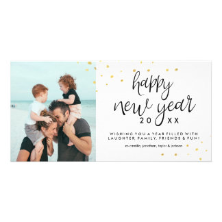 Happy New Year Photo Festive Chic Gold Confetti Card