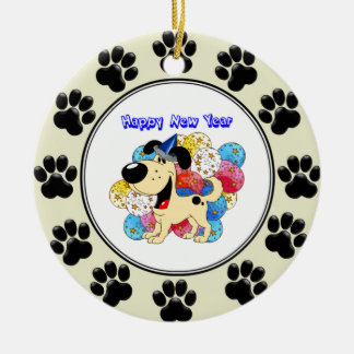 Happy New Year Pup! Round Ceramic Decoration