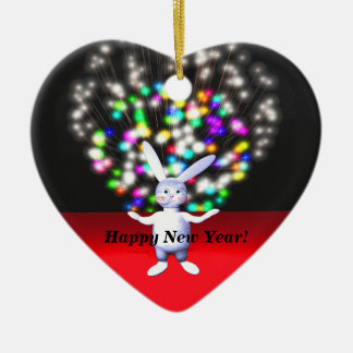 Happy New Year Rabbit and Fireworks Christmas Tree Ornaments