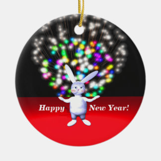 Happy New Year Rabbit and Fireworks Ornaments