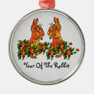 Happy New Year Rabbits Silver-Colored Round Decoration