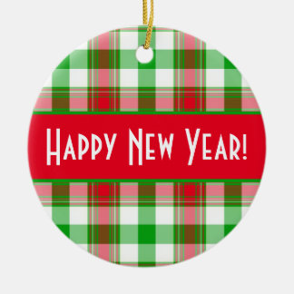 Happy New Year Red and Green Plaid Round Ceramic Decoration
