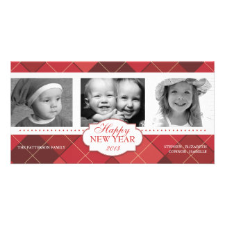 Happy New Year Red Argyle Holiday Photo Card