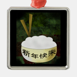 Happy New Year Rice Bowl Silver-Colored Square Decoration