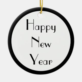Happy New Year Round Ceramic Decoration
