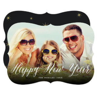 Happy New Year Script And Stars Holiday Photo Card