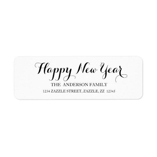 HAPPY NEW YEAR Script Modern Custom Address Return Address Label