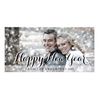HAPPY NEW YEAR Script Modern Custom Photo Card