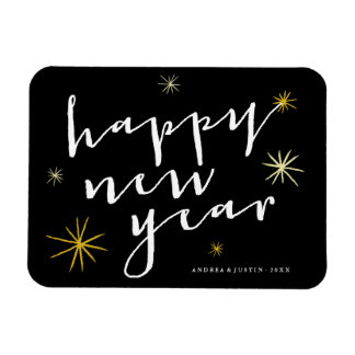 Happy New Year Script Starburst Holiday Greetings Rectangular Photo Magnet