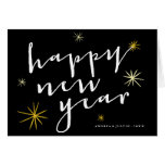 Happy New Year Script Starburst Holiday Greetings Greeting Card