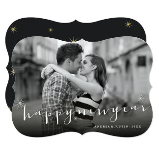 Happy New Year Script Starburst Holiday Photo Card