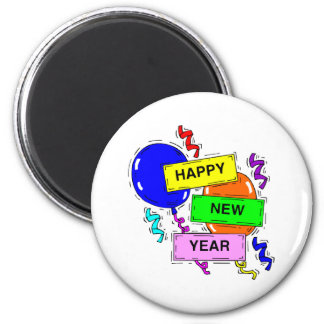 Happy New Year Sign 6 Cm Round Magnet