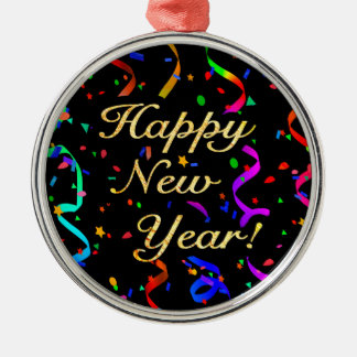 """Happy New Year!"" Silver-Colored Round Decoration"