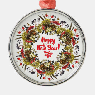 Happy New Year Silver-Colored Round Decoration